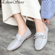 EshtonShero Womens Flats Shoes Woman Genuine Leather+PU Flat Heels Round Toe Butterfly-Knot Ladies Wedding Size 3-11