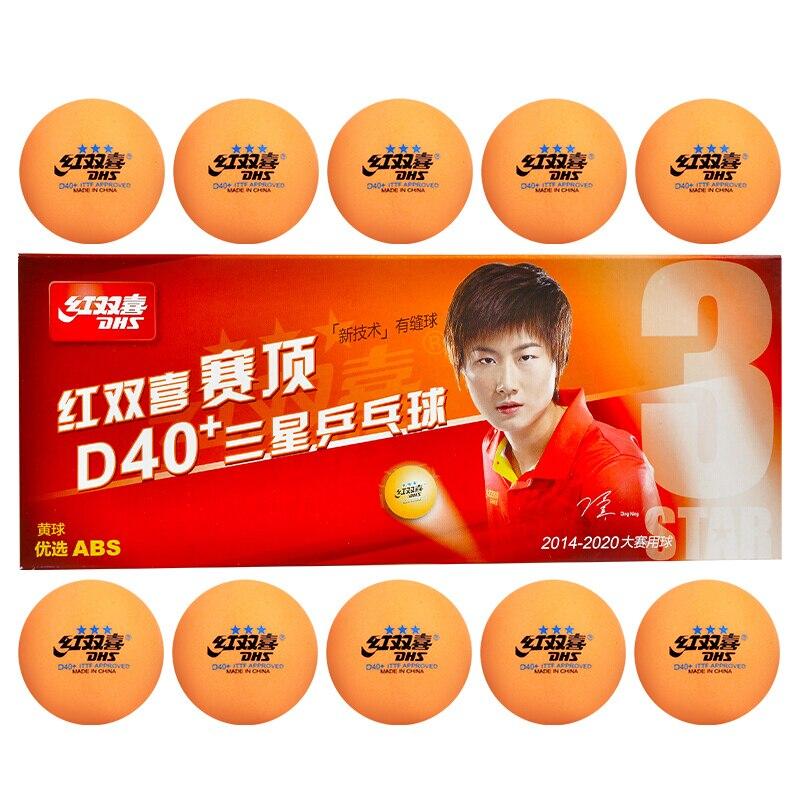 DHS 2018 nuevo 3-Star D40 + (naranja) pelotas de tenis de mesa (3 estrellas costura ABS bolas) de plástico de polietileno de pelotas de Ping-Pong