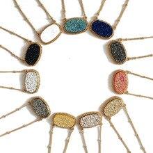 Trendy Framed Oval Multi Color Druzy Choker Necklace For Women 2018 Glitter  Stone Bohemia Statement Short f572af893d1b