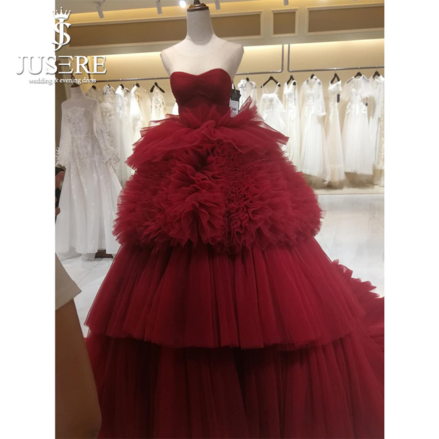 Strapless Neckline Tiered Layers Ball Gown Women Party Evening Occasion  Gown Purple Red Hot Evening Dresses 2018 5ea009959ca8