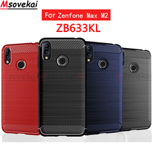 Carbon Case for ASUS ZenFone Max M2 ZB633KL Cover 6.26 Silicone Bumper Soft Phone Armor Shell