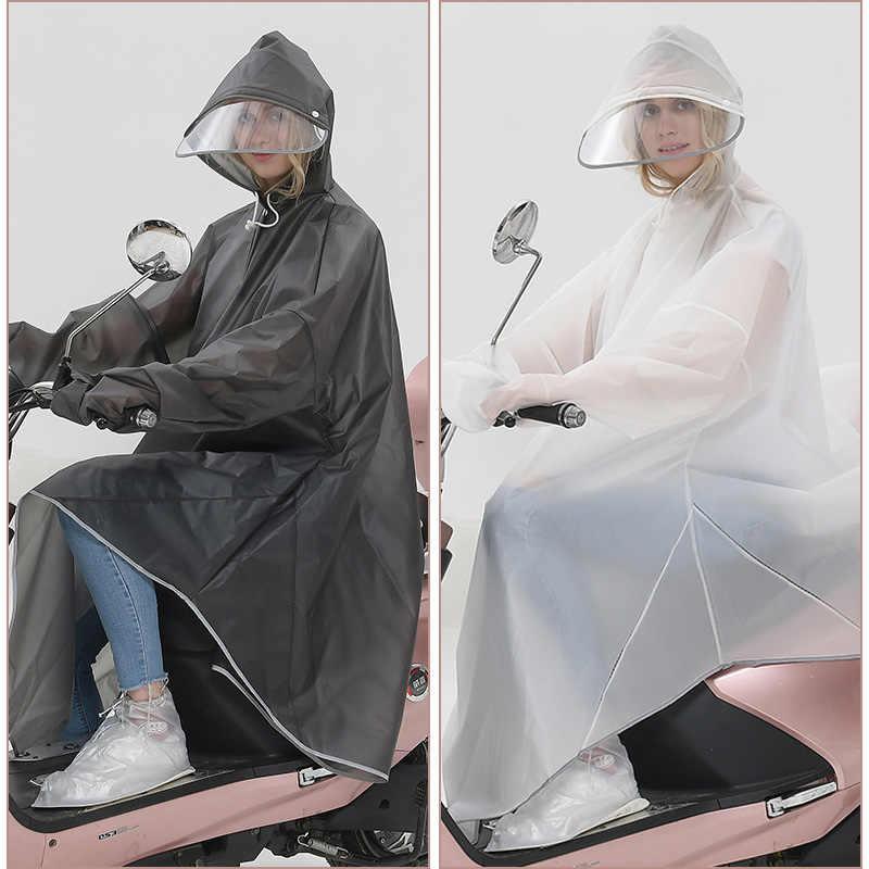 Kreatywna moda zielony pas rękawy podwójna czapka jaskinie elektryczny samochód Poncho jazda na rowerze noc odblaskowe mężczyźni i kobiety płaszcz przeciwdeszczowy