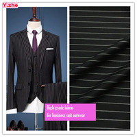 High Grade Black Striped Business Suit Fabric Wide 150cm Stretch Meter Fabric DIY Sewing Man Women