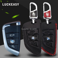 LUCKEASY For BMW X1 X3 X5 X6 X730 2 Series 5 Series Premium Leather 3 Buttons