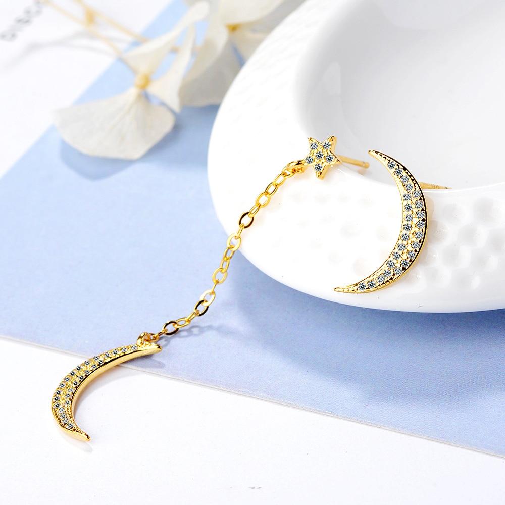 New Fashion Asymmetric Moon Star CZ Zircon 925 Sterling Silver Ladies Long Stud Earrings Wholesale Jewelry For Women No Fade in Stud Earrings from Jewelry Accessories