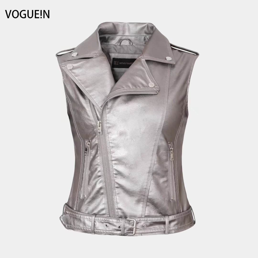 VOGUEIN New Womens Casual Sleeveless Faux   Leather   Short Vests Jacket Waistcoat 5 Colors Wholesale
