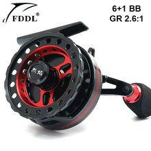 FDDL Right-hand and Left-hand Fishing Reels 6+1BB Ball Bearing 2.6:1 Gear Ratio Aluminum Alloy Fly Fishing Wheel