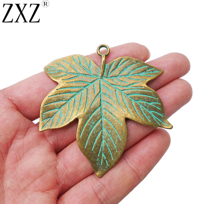 5 x Green Verdigris Patina Large Maple Leaf Charms Pendants for Jewellery Making