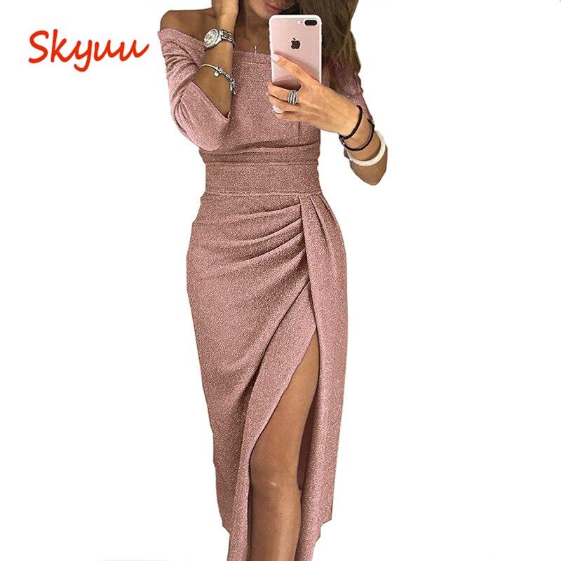 Skyuu Sexy vestido Plus tamaño vestidos de noche de fiesta en el Club 2018 de Otoño de las mujeres con hendidura vestido cuello largo vestido de lentejuelas