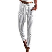 0a24e1af61 Cintura elástica a rayas Pantalones negro Mediados de cintura cónica  zanahoria pantalones de verano de las
