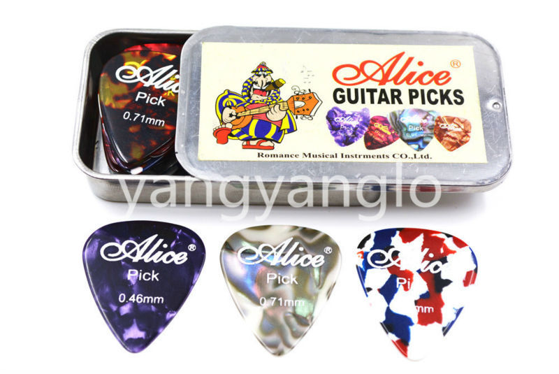 Alice Rectangle Metal Pick Holder Case With 24pcs Pearl Celluloid Guitar Pick Free Shipping