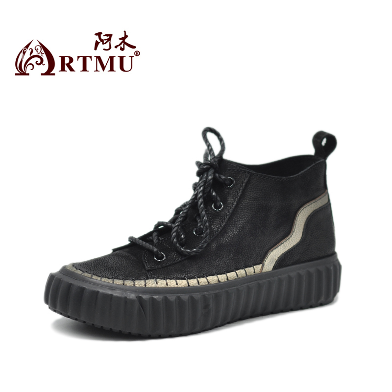 Artmu Original 2019 New Women Shoes Cross-tie Retr Style Thick Sole Genuine Leather Shoes Flat Handmade Casual Shoes C811372
