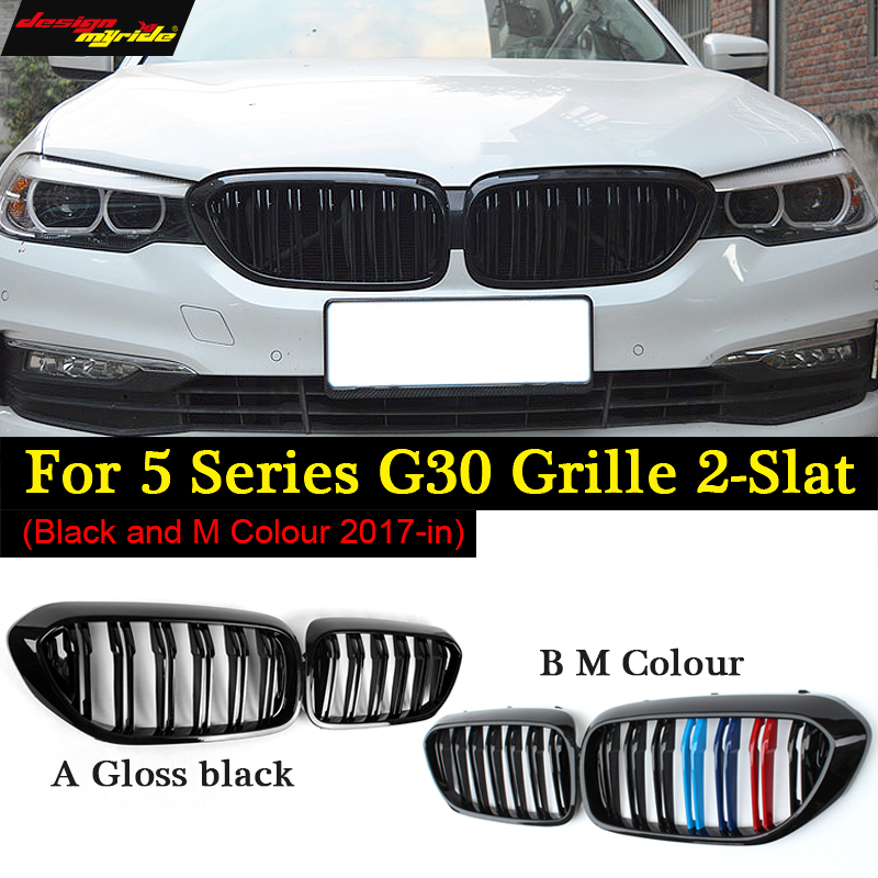 for BMW g30 M5-Style Kidney ABS Plastic Black and M colour Auto Car styling Front Racing Grill Grille for BMW G30 New 5 Series цена