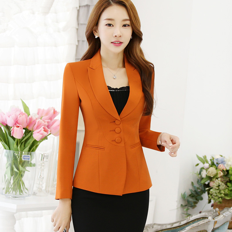 info pour 6a20e 50321 US $75.17 |TEAEGG Long Sleeve Orange Blazer Femme Blaser Feminino 2019  Blazer Masculino Slim Women Blazers And Jackets Outwear Coat AL1246-in  Blazers ...