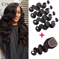 6A Unprocessed Indian Virgin Hair With Closure Body Wave Lace Closure 4 Bundles Deals With Closure Cheap Human Hair With Closure