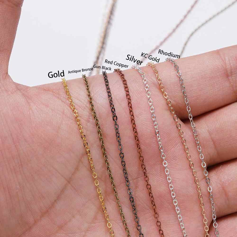 5 m/lote ancho 1,5 2mm de cobre oro plata enlace Oval collar cadena para hacer joyería accesorios pulsera DIY suministros