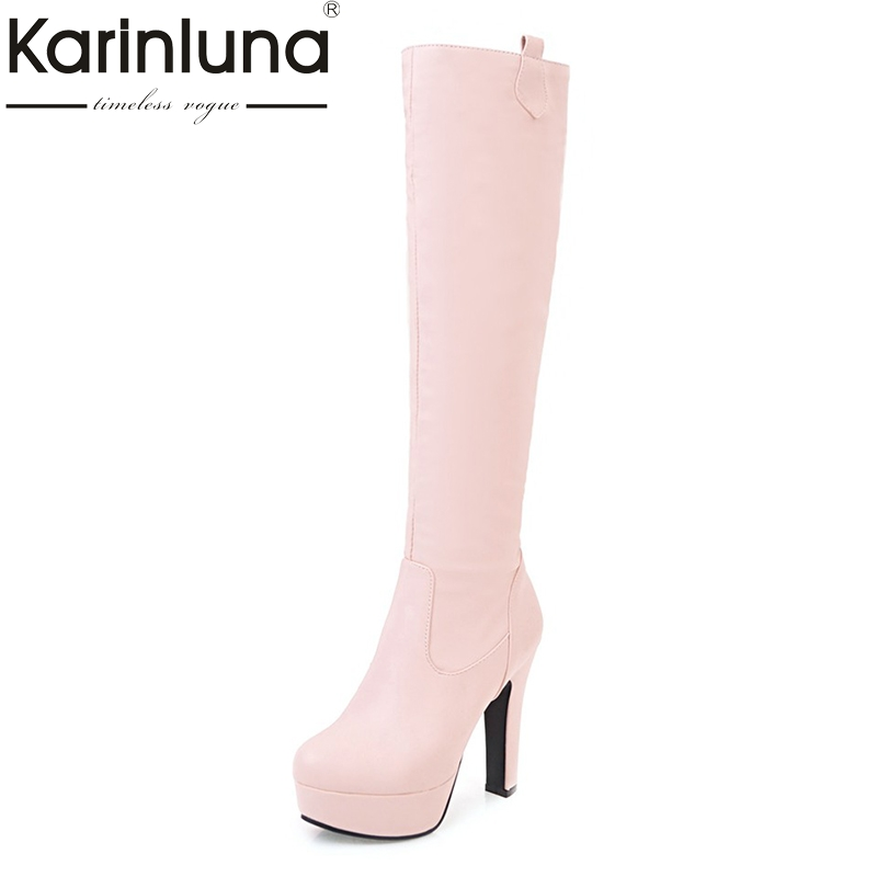 KARINLUNA customize large size 31-45 platform high heel woman shoes women sexy knee high boots add fur winter autumn black white