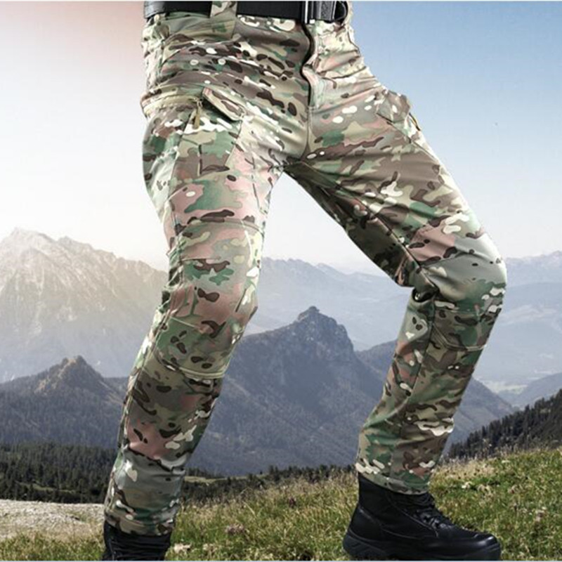Camouflage waterproof soft shell fleece warm IX7 tactical pants men outdoor hunting training climbing windproof thermal trousers