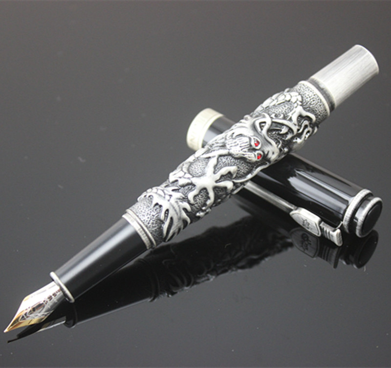 Jinhao Luxury Gift Pen 3D Dragon Metal Fountain Pen with Original Case 0.5mm Iridium Nib Ink Pens Free Shipping latest design jinhao dragon and phoenix carving fountain pen stationery luxury metal writing gift art collection ink pens