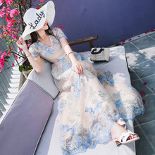 Maxi Dress Rushed Mesh Sexy & Club Fit And Flare Solid Empire Robe 2017 New Heavy Ladies Dress Collar Wholesale V Short Holiday