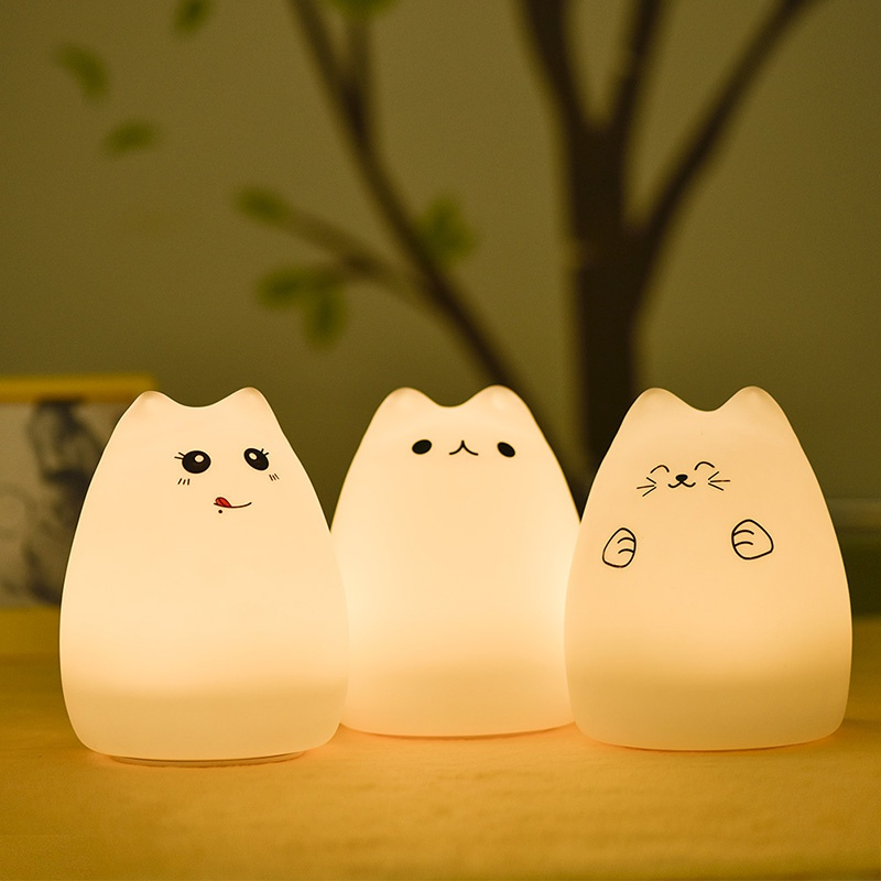 Fashion Colorful Cat Silicone LED Night Light Rechargeable Touch Sensor light 2 Modes Children Cute Night Lamp Bedroom Light New desk night lights baby room colorful cat silicone led night light rechargeable touch sensor light 2 modes children kids bed lamp