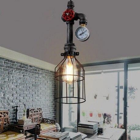 American Loft Style Iron Water Pipe Lamp Edison Pendant