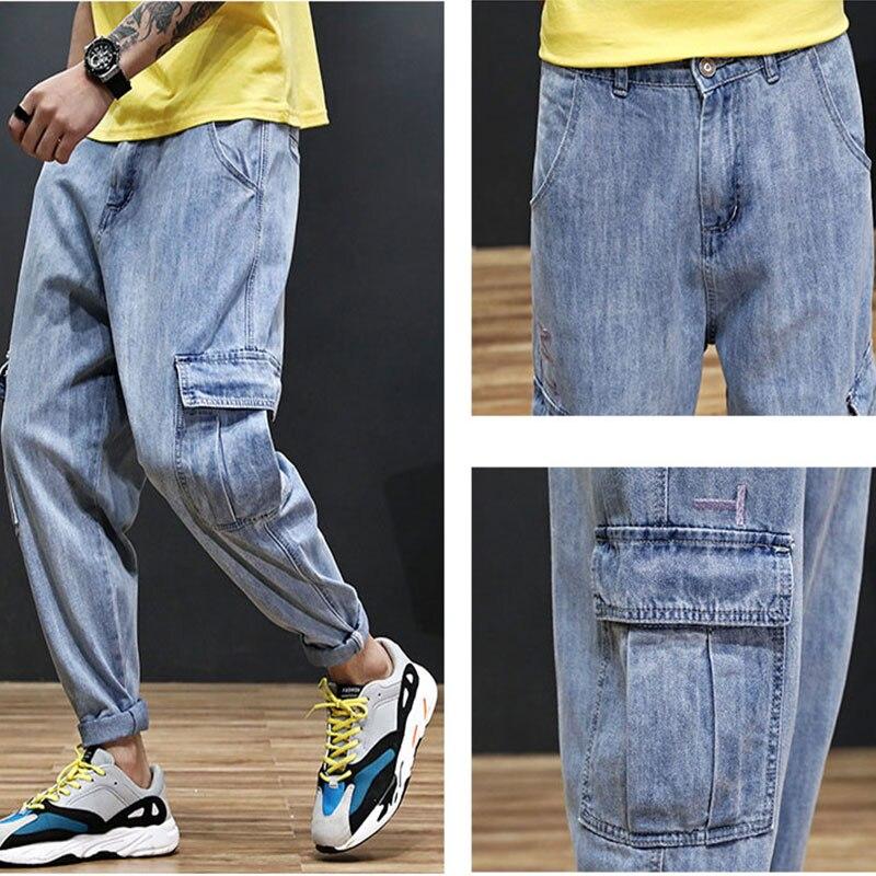 2019 High Street Fashion Men Jogger Jeans Blue Color Top Quality Loose Fit Cargo Pants Harem Trousers Hip Hop Jeans Men