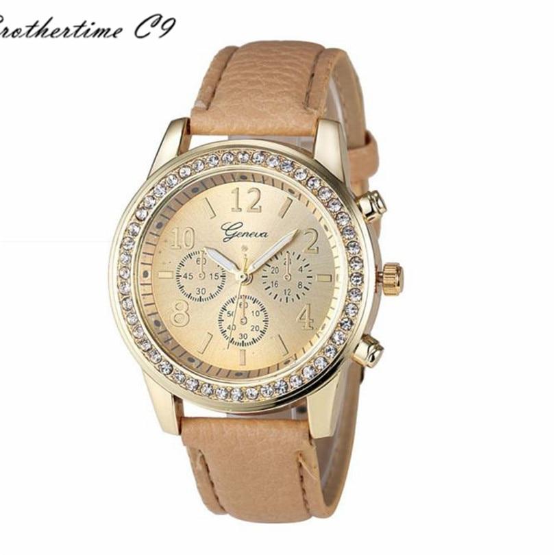 2016 Fashion Quartz Crystals Watch Women Faux Chronograph ...