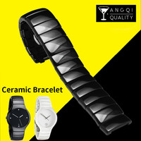 14mm 21mm Pearl Ceramic Watch Band Wristwatch for Rado True Series Strap Brand Watchband 316L Stainless Steel Buckle Black White