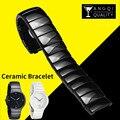 14mm 21mm Perle Keramik Uhr Band Armbanduhr für Rado Wahre Serie Marke Armband 316L Edelstahl Schnalle schwarz Weiß-in Uhrenbänder aus Uhren bei