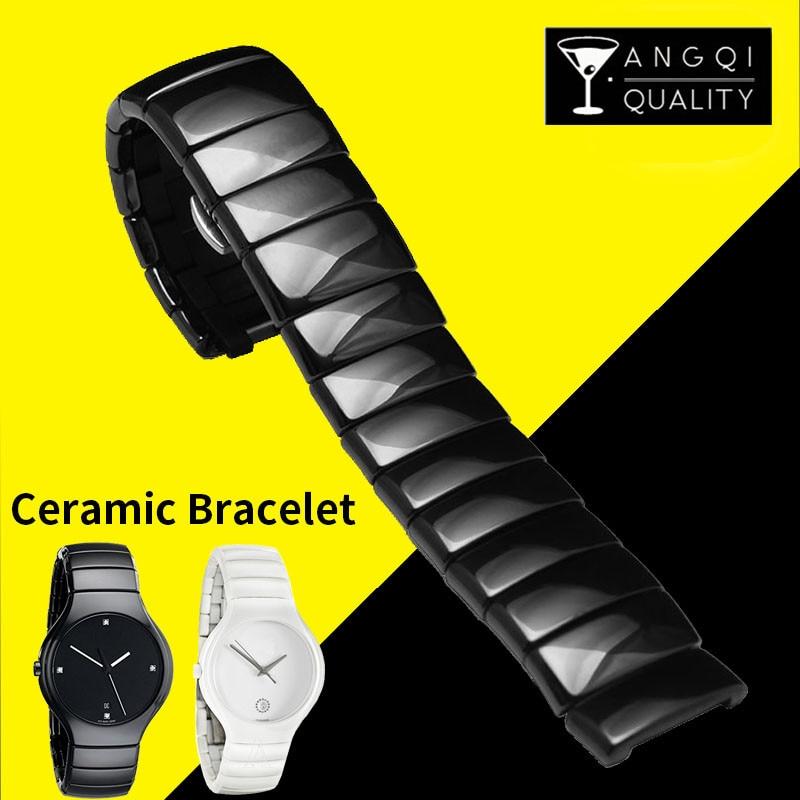 14mm 21mm perle en céramique bracelet de montre-bracelet pour Rado vraie série bracelet marque bracelet en acier inoxydable 316L boucle noir blanc