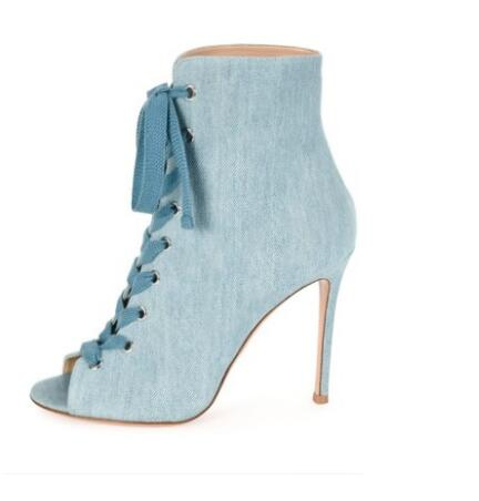 Hot Selling Denim Peep-toe Ankle Boot Lace-up Front Stiletto Heel Gladiator Sandals Bootie For Women Jean Dress Shoes Size 10 denim zipper hollow worn stiletto womens sandals