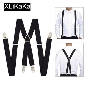 XLiKaKa 1 inch Suspenders Men Solid Color Polyester Elastic Adult Belt X-Shape Braces with 4 Clips for Women