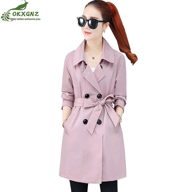 2019 spring windbreaker Coat female new loose Women autumn outwear casual double-breasted Belt Cloak Mujer Mid-long   Trench   Coats
