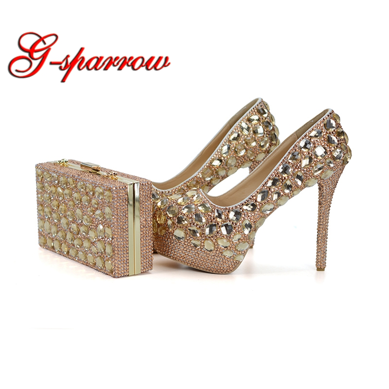 Champagne Wedding Ball Shoes with Matcing Bag Gorgeous Stone Bride Dress Shoes Graduate Farewell Ceremony Pumps with Purse sparkling ab crystal red wedding high heels shoes rhinestone fashion bride dress shoes matric graduate farewell ceremony shoes
