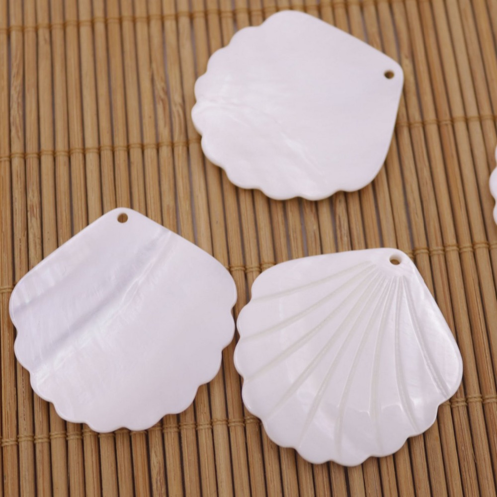 Купить с кэшбэком 5 PCS 38mm Shell Natural White Mother of Pearl Charms  Pendants fan