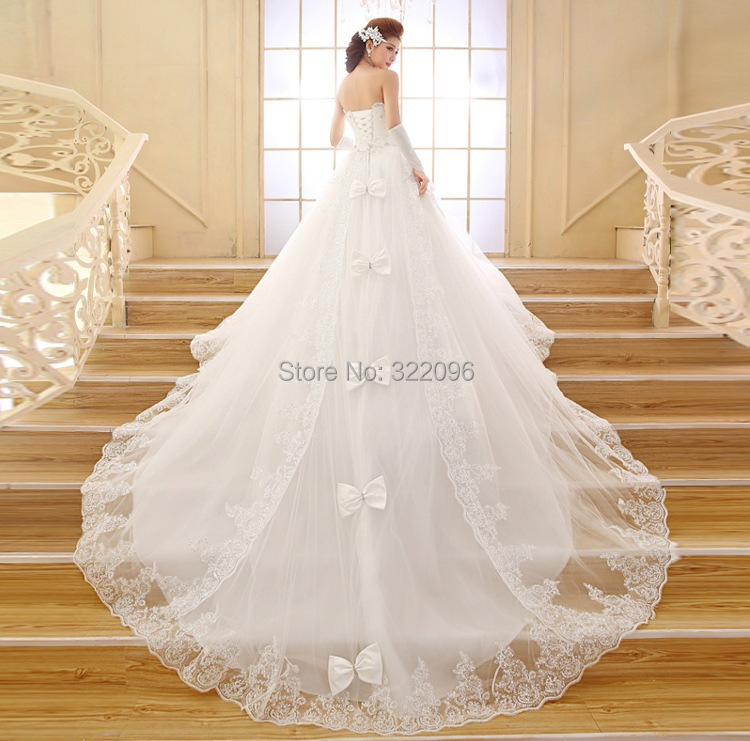 Aliexpress Buy Free Shipping Wedding Dress Korean Long Tailed Strapless Lace The Trailing Nuptial Pregnant Women Can Be Customized HS569 From