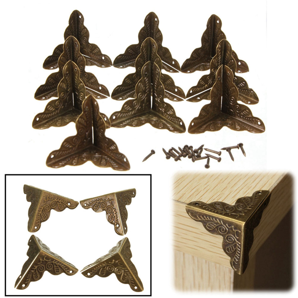 COOLCELLS Box Metal Corner Protector Brackets 10Pcs Furniture Jewelry Wooden Case Bronze Tone Flower Pattern Carved Metal Crafts