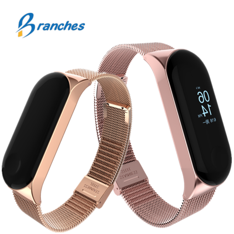 mi band 3 4 bracelet for Xiaomi mi band 3 4 strap Metal wrist strap Screwless Stainless Steel Bracelet Wristbands MiBand 3 4(China)