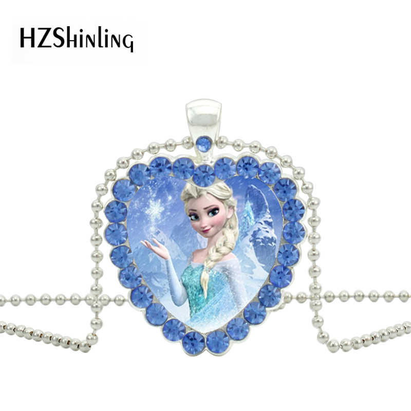 New Snow Queen Blue White Crystal Heart Necklace Queen Elsa Ana Pendant Glass Jewelry Silver Necklaces Best Gifts for Children