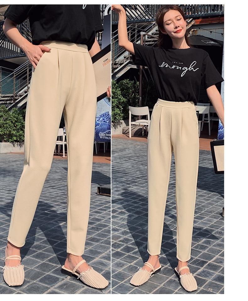 Aselnn Pants Women 2019 Spring Autumn Casual Linen Ankle-length Pants Regular Harem Pants Plus Size Streetwear Trousers Female 13