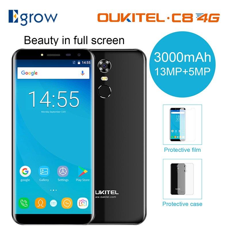 Oukitel C8 4g Mobile Téléphone 5.5 pouce 18:9 Écran téléphone Quad Core 2 gb RAM 16 gb ROM 13MP android 7.0 3000 mah Tactile ID Smartphone