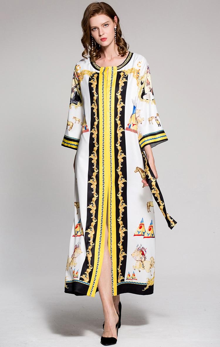Cou La Mode Ceinture Arrivée Multi 2019 Designer O Sash Pyjamas Vintage Imprimé Nouvelle Femme De Manches Longues Lâche Perlé Robes 4Xtq1AA