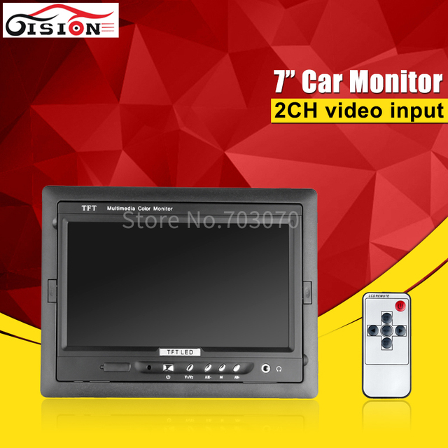 Free Shipping 7inch AHD Monitor 2CH Video Input Reverseing 800*480 In-dash CCTV Monitor For Bus /Camera/Dvr