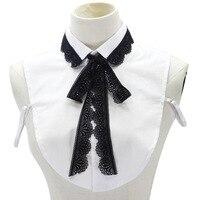 Metade Camisa branca Blusas Peterpan Collar Destacável Desalinhado Idade redução do Xadrez clássico branco falso colar de arco preto gravata do laço talão|Blusas e Camisas| |  -