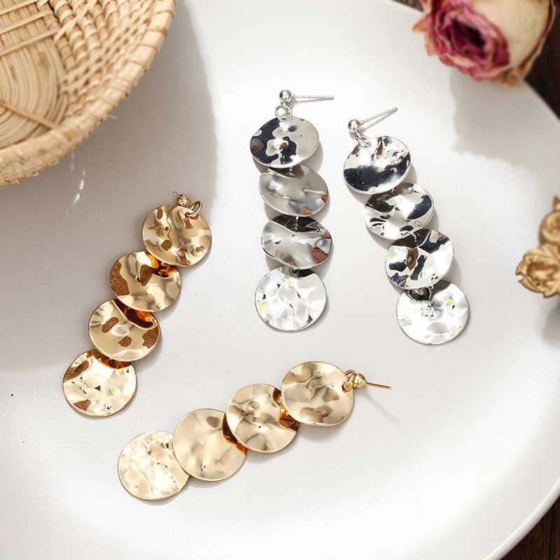 רוק פאנק עגול גיאומטרי זהב צבע מתכת ארוך להתנדנד עגילים לנשים בוהמי מסיבת מוגזם תכשיטים