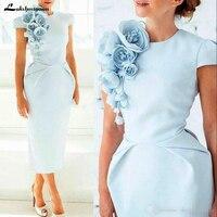 Vintage Light Blue Mom's Dress Formal Column Mother of the Bride Gown Retro Short Sleeves Tea Length Flowers vestido de madrinha