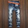 Alta Qualidade Da Marca masculina Motociclista Jeans de Algodão Azul Slim Fit buraco bagger Afligido Denim Jeans Calças Da Motocicleta calças de Brim Dos Homens Do Vintage