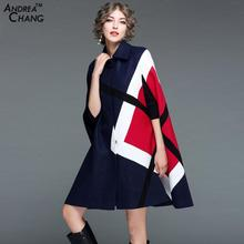 2017 New Arrival Woman Coat Cloak Cape Red Geometric Pattern Black Dark Blue Wool Coat Fashion England Style Vintage Wool Cloak
