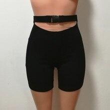 Clip Buckle High Waist Black Biker Shorts Women FA01